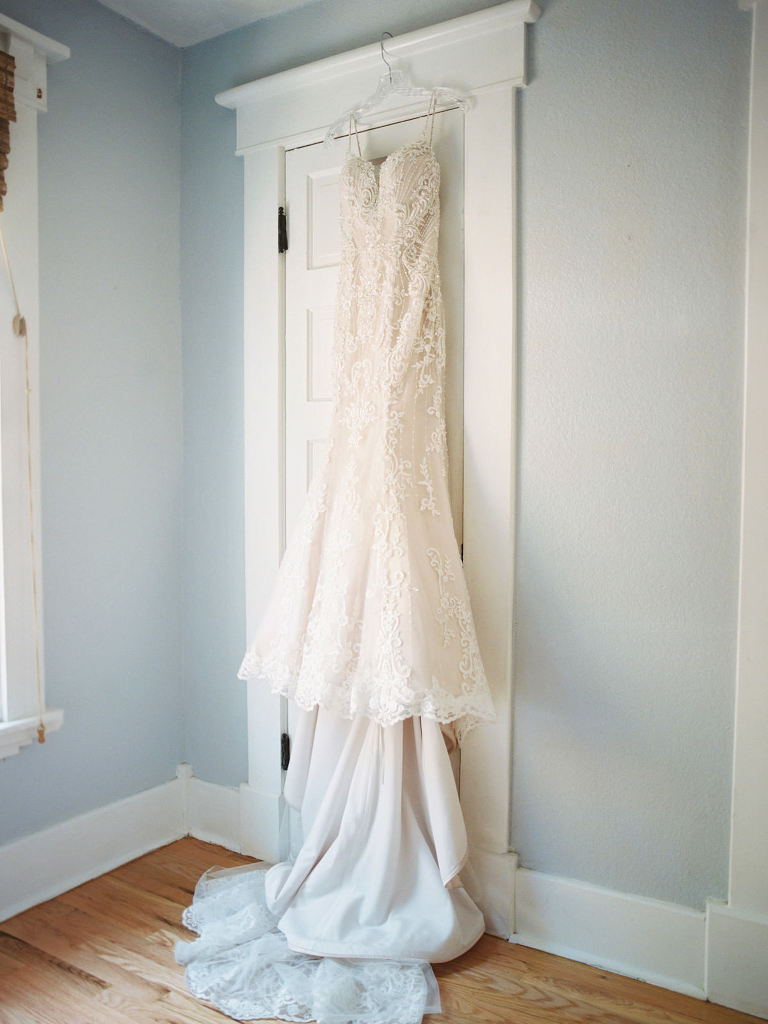 Champagne and Ivory Lace Sweetheart Wedding Dress Bridal Gown Hanging Up