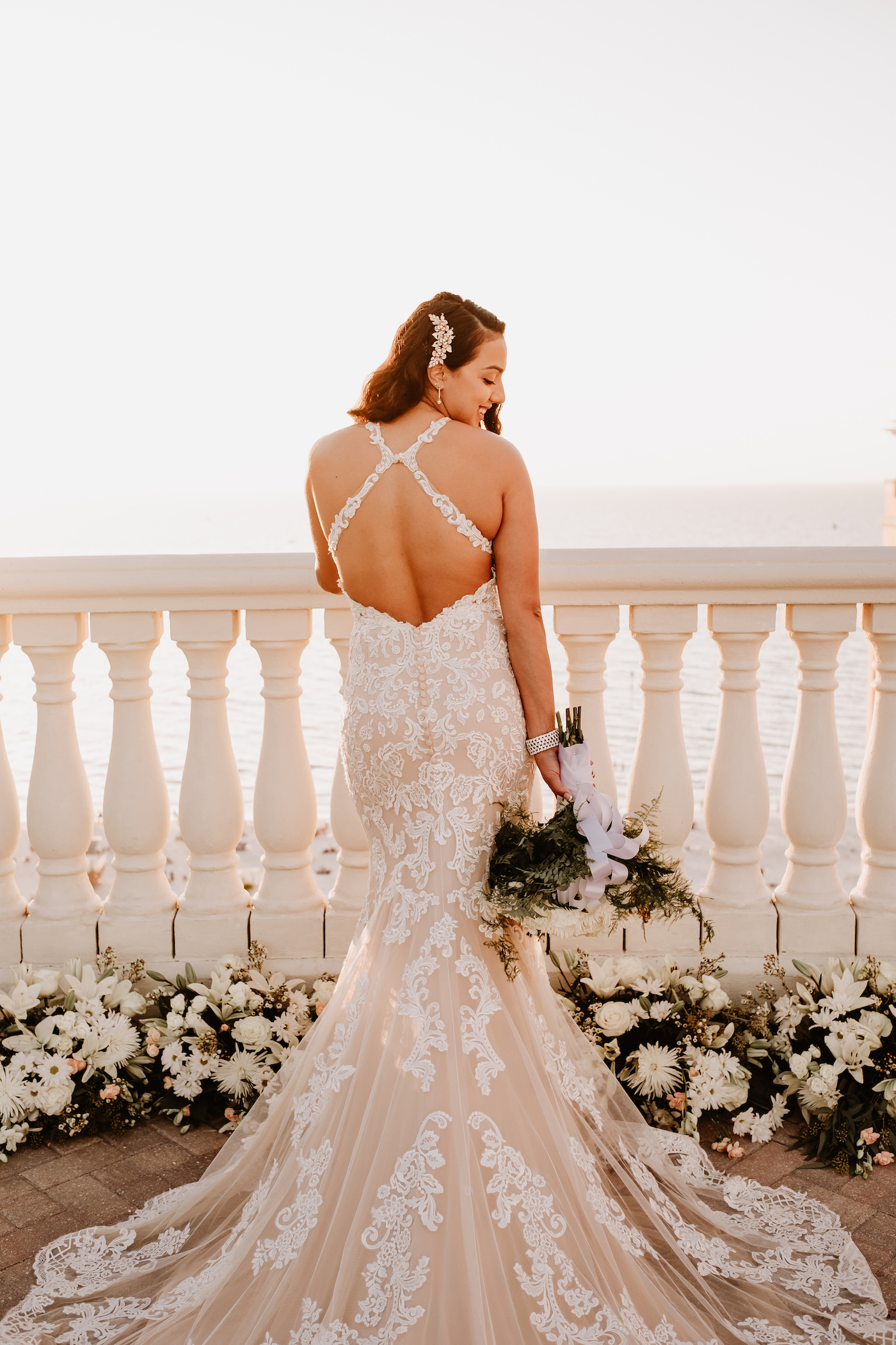 Sunset Bridal Portrait   Champagne Lace Sheath Illusion Neck Bridal Gown with Criss Cross Back Straps   Clearwater Beach Wedding Bridal Portrait