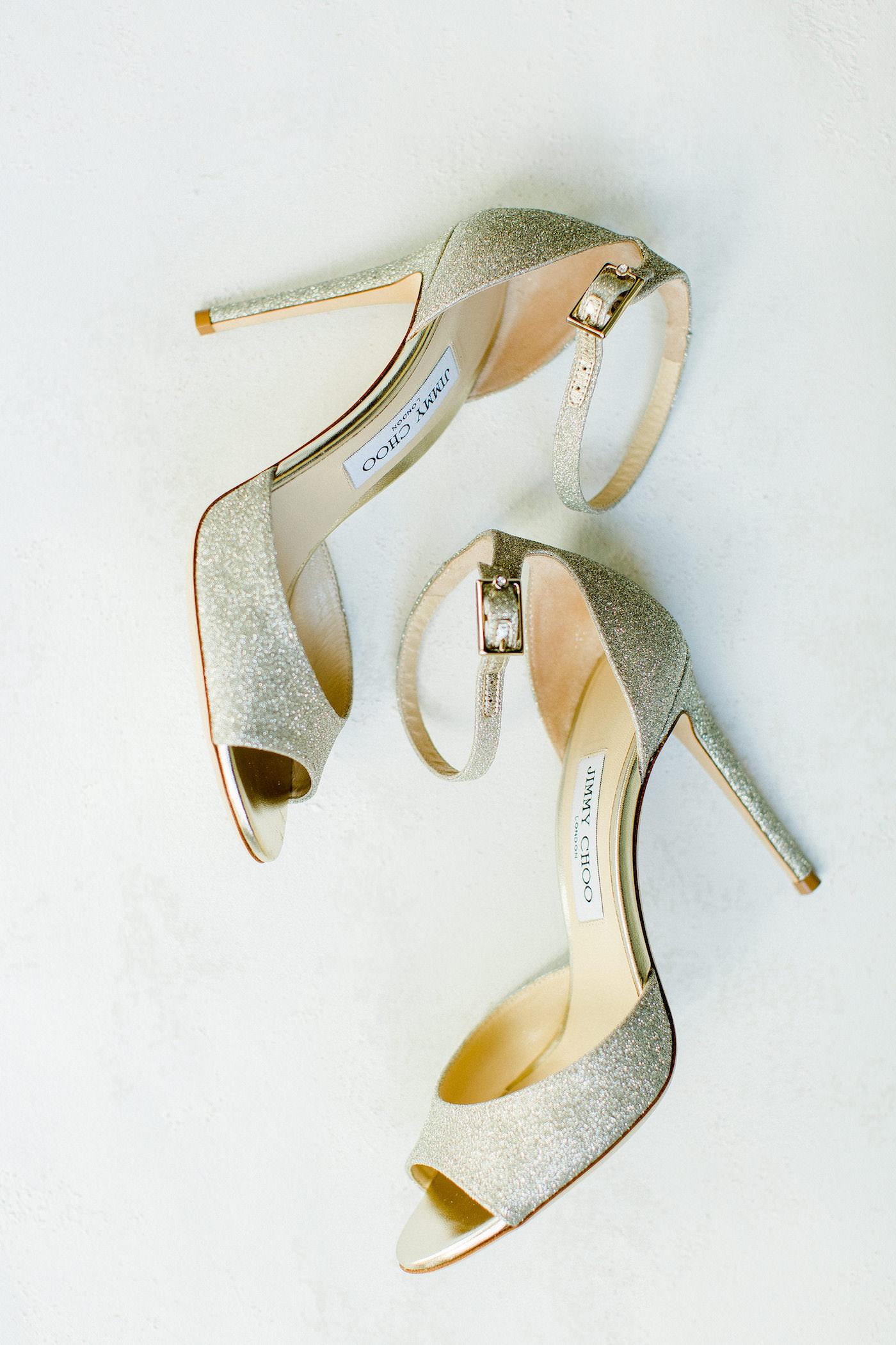 Gold Shimmer Sparkle Glitter Jimmy Choo Bridal Shoes | Florida Wedding Planner Breezin' Weddings