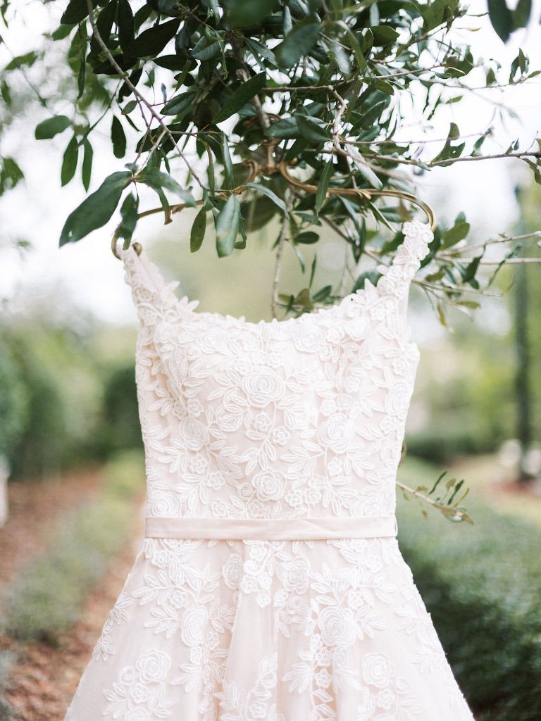 Lace Bridal Gown Wedding Dress Hanging on Gold Hanger in a Tree | Sarasota Wedding Dress Boutique Truly Forever Bridal