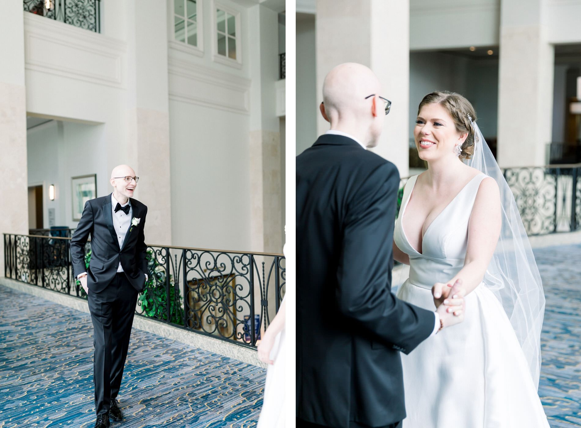 Tampa Groom in Black Tuxedo and Bride in Plunging Neckline Ballgown Wtoo by Watters Wedding Dress | Wedding Photographer Shauna and Jordon Photography | Wedding Hair and Makeup Femme Akoi