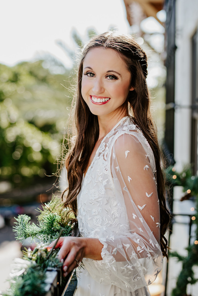 Bride Getting Ready Portrait | Sheer Embroidered White Robe and Half Up Half Down Loose Curls Hairstyle