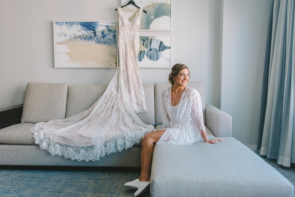 Champagne and Ivory Lace Sheath Wedding Dress Bridal Gown with Scalloped Edge Lace Train | White Lace Bride Robe for Getting Ready | Tampa Bay Wedding Photographer Kera Photography