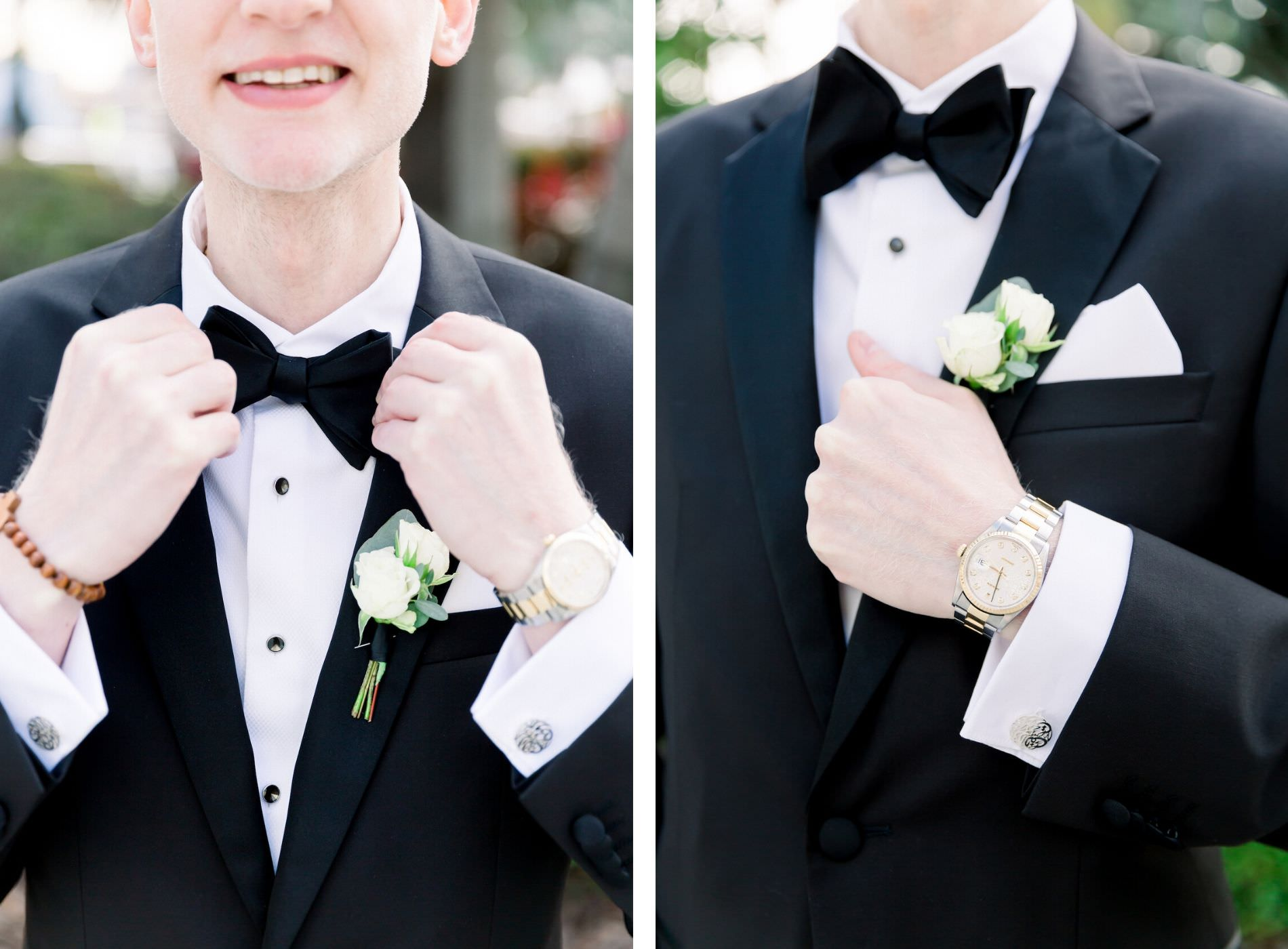 Classic Groom in Black Tuxedo and Bowtie and White Rose Boutonniere | Wedding Photographer Shauna and Jordon Photography | Tampa Wedding Planner UNIQUE Weddings + Events