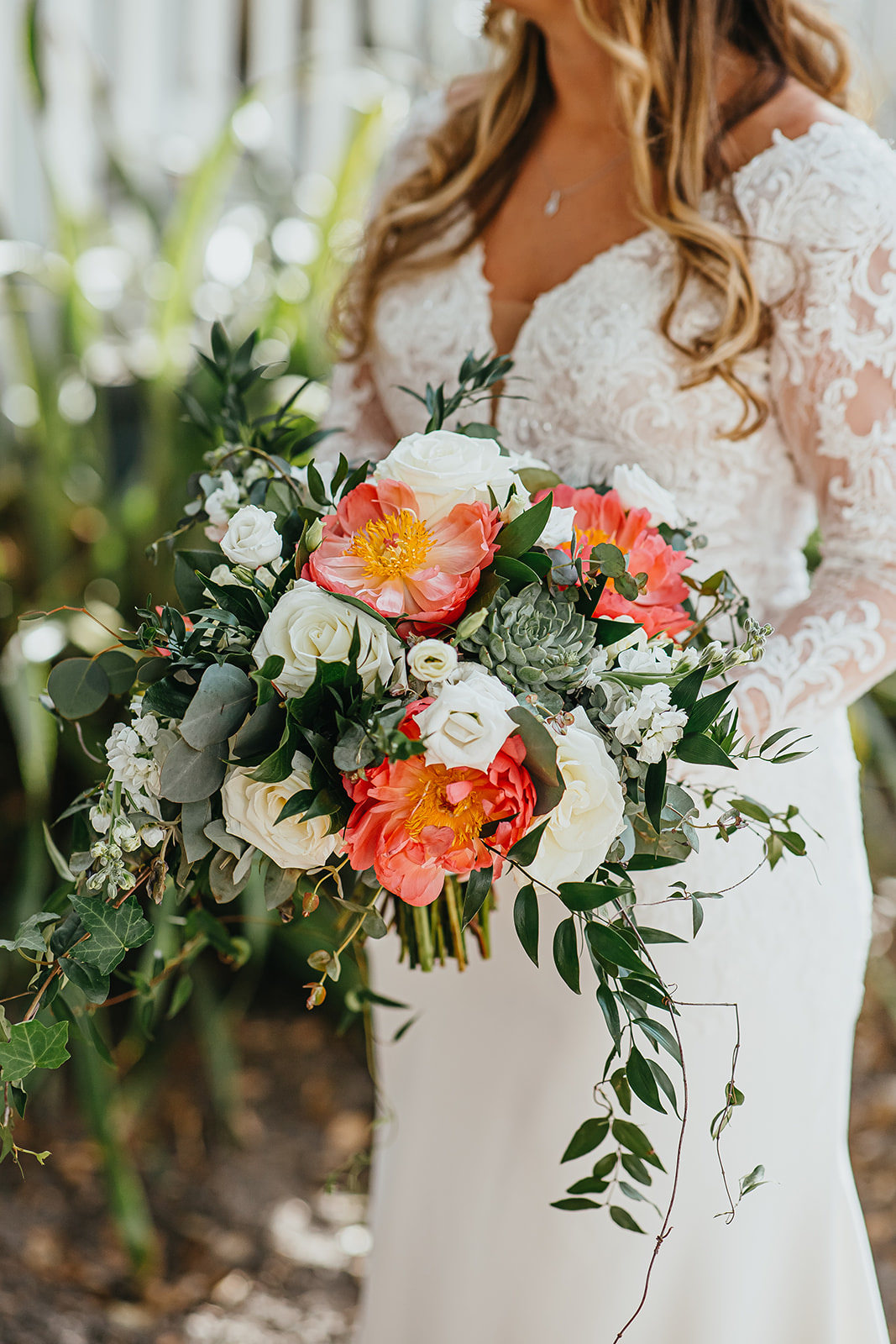 Organic Natural Loose Wedding Bridal Bouquet With Coral Pink Peonies And White Roses With Succulents And Eucalyptus Greenery By Tampa Florida Monarch Events And Designs Marry Me Tampa Bay Local