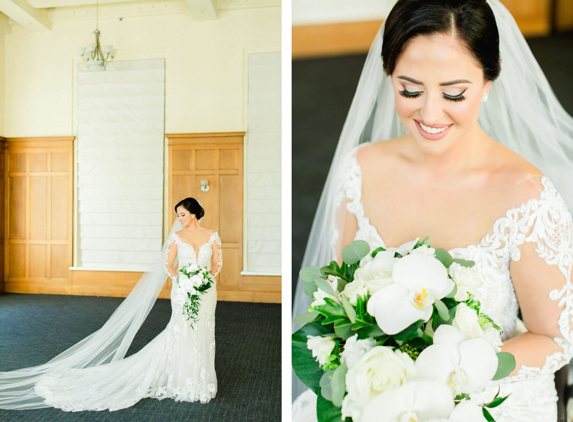 Romantic Florida Bride in Illusion Lace Sleeve Fit and Flare Wedding Dress, Holding White Orchid and Ivory Rose Bouquet with Greenery, Neutral Makeup, Beauty Portrait | South Tampa All Saints Academy | Tampa Bay Wedding Planner Breezin' Weddings