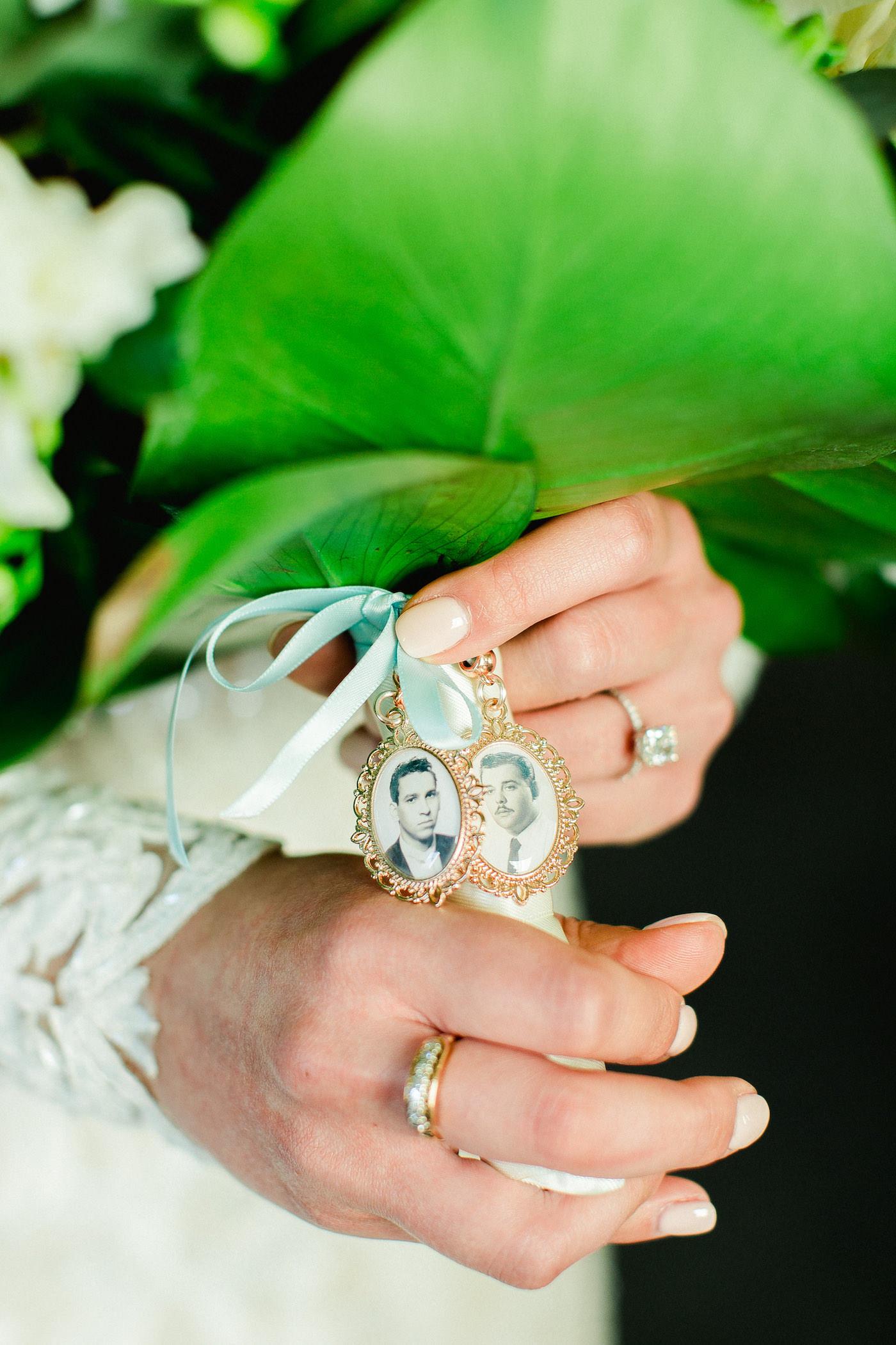 Vintage Inspired Wedding Bouquet Details, Heirloom Family Photos in Locket Carried Down the Aisle | Florida Wedding Planner Breezin' Weddings