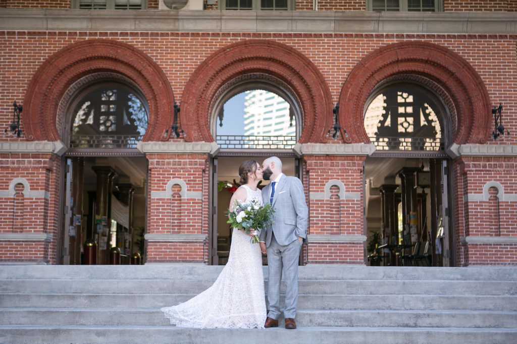 Florida Bride and Groom Portrait On Steps of The University of Tampa | Wedding Photographer Carrie Wildes Photography | Wedding Florist Monarch Events and Design