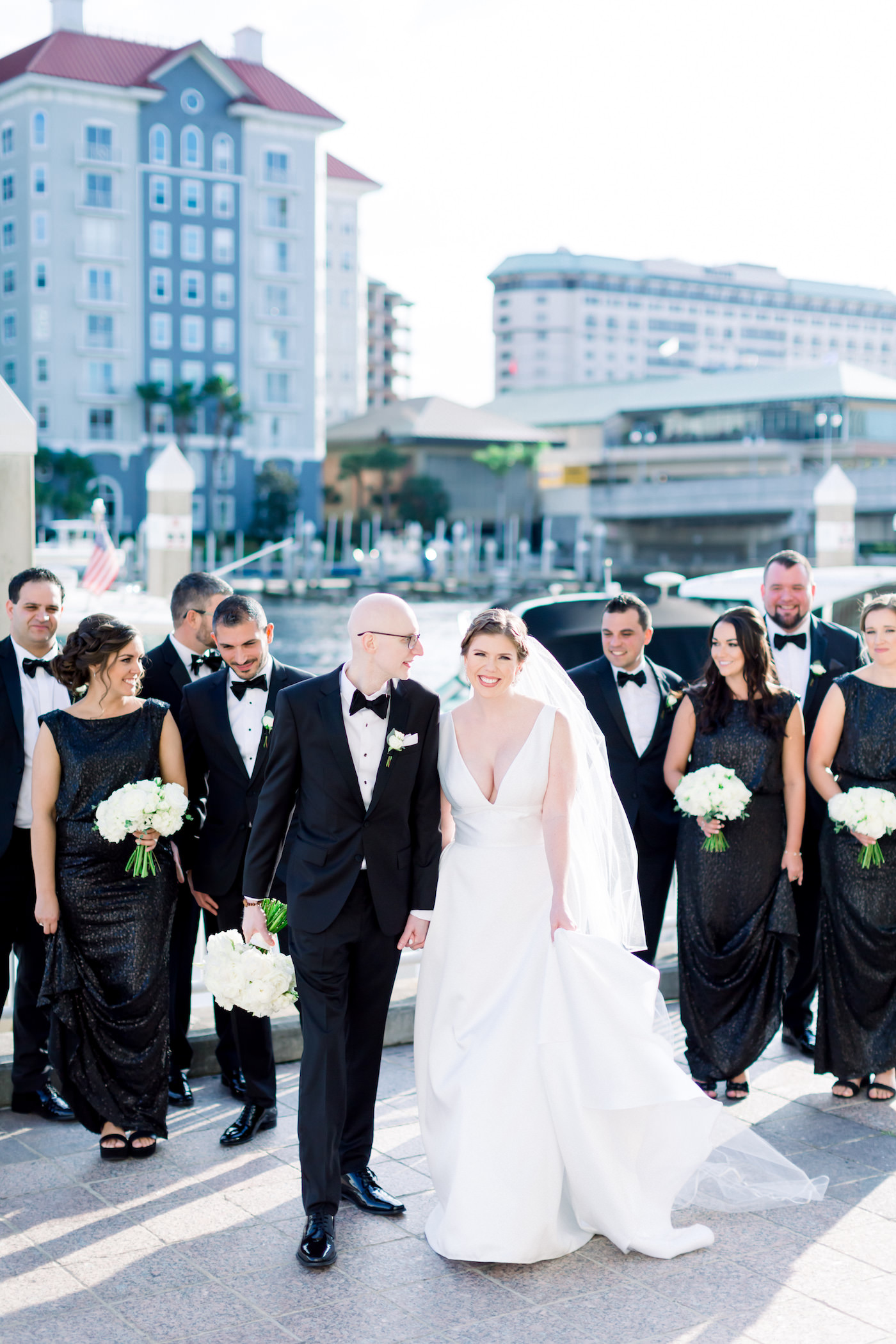 Classic Elegant Bride and Groom with Wedding Party in Black Tie Attire | Wedding Photographer Shauna and Jordon Photography | Wedding Planner UNIQUE Weddings + Events | Tampa Bay Wedding Hair and Makeup Femme Akoi Beauty Studio