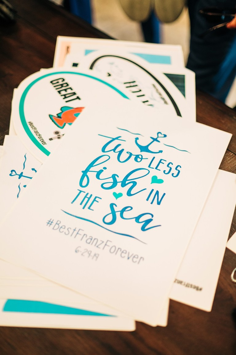 White and Blue Wedding Save The Date Nautical Fishing | Two Less Fish In The Sea