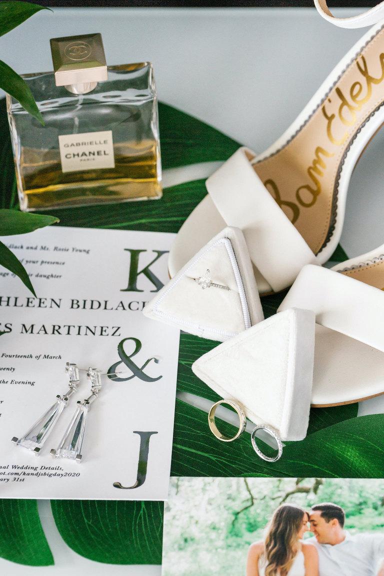 Tampa Wedding Flat Lay Green Monogram | Designer Sam Edelman Heels Bridal Wedding Shoes