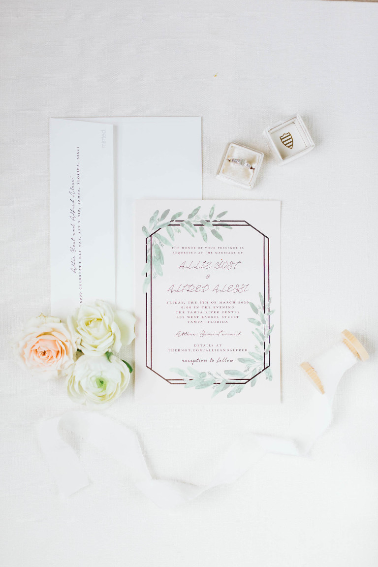Boho Chic with Watercolor Greenery Leaves and Geometric Frame Wedding Invitation, Engagement Ring in Velvet The Mrs Box