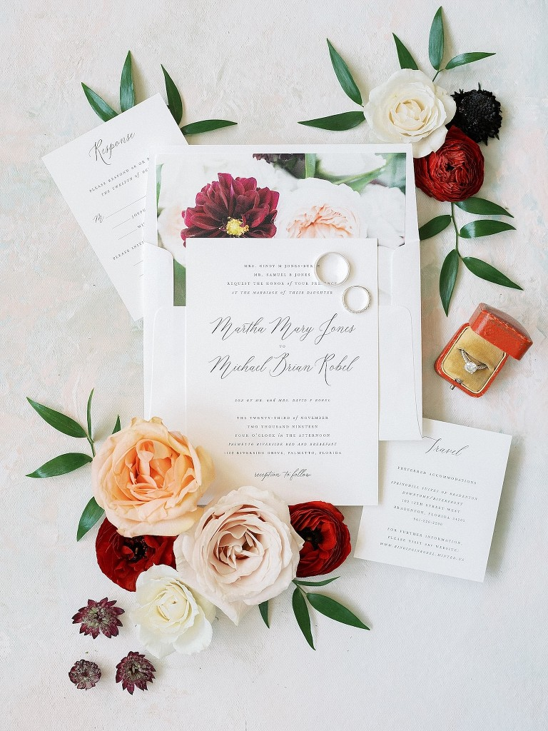 Wedding Invitation Suite Flay Lay Shot | Fall Autumn Wedding Stationery with Floral Envelope Liner and Traditional Calligraphy | Brides N Blooms