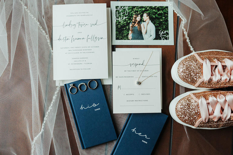 Classic and Elegant White and Navy Blue Wedding Invitation Suite with His and Hers Vow Books, Engagement and Wedding Rings, Rose Gold Glitter Bridal Sneakers and Custom Photo Save the Date
