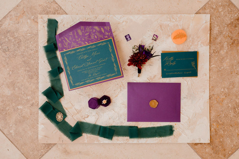 Boho Glam Wedding Stationery Suite | Teal Turquoise Wedding Invitation with Purple Envelope and Gold Calligraphy