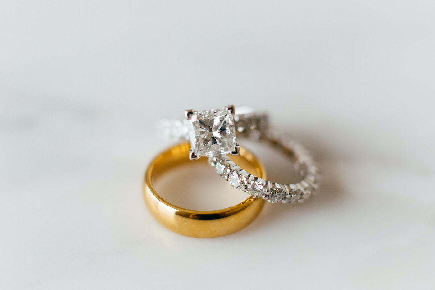 Florida Wedding Rings, Princess Cut Diamond Engagement Ring with Diamond Band and Gold Groom's Ring