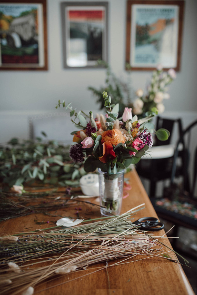 COVID Wedding Elopement DIY Flowers Floral Bouquet | Peach and Pink Bride Bouquet with Ranunculus Tulips and Eucalyptus