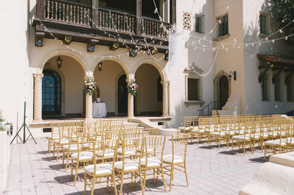 Outdoor Sarasota Waterfront Venue Powel Crosley Estate | Tampa Bay Wedding Planner Special Moments Event Planning | Gold Chiavari Chair Rental Gabro Event Services | Florida Wedding Photographer Kera Photography