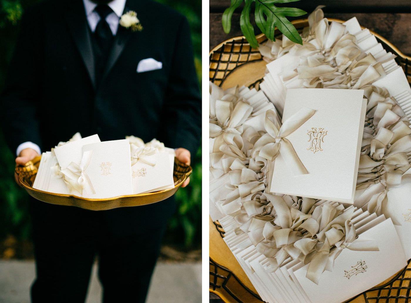 Sarasota Wedding Details, Elegant Florida Wedding Program with Ivory Ribbon, on Gold serving Tray   NK Weddings