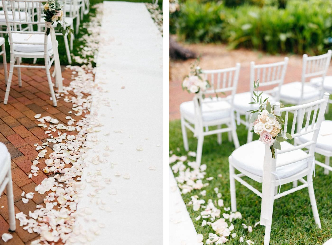 Romantic, Garden Inspired Wedding Ceremony, Large Floral Decor, With Gold Vases, Blush Pink Florals with Greenery, White Flower Petals Down Aisle with Runner, White Chiavari Chairs   Florida Wedding Planner NK Weddings   Marie Selby Botanical Gardens