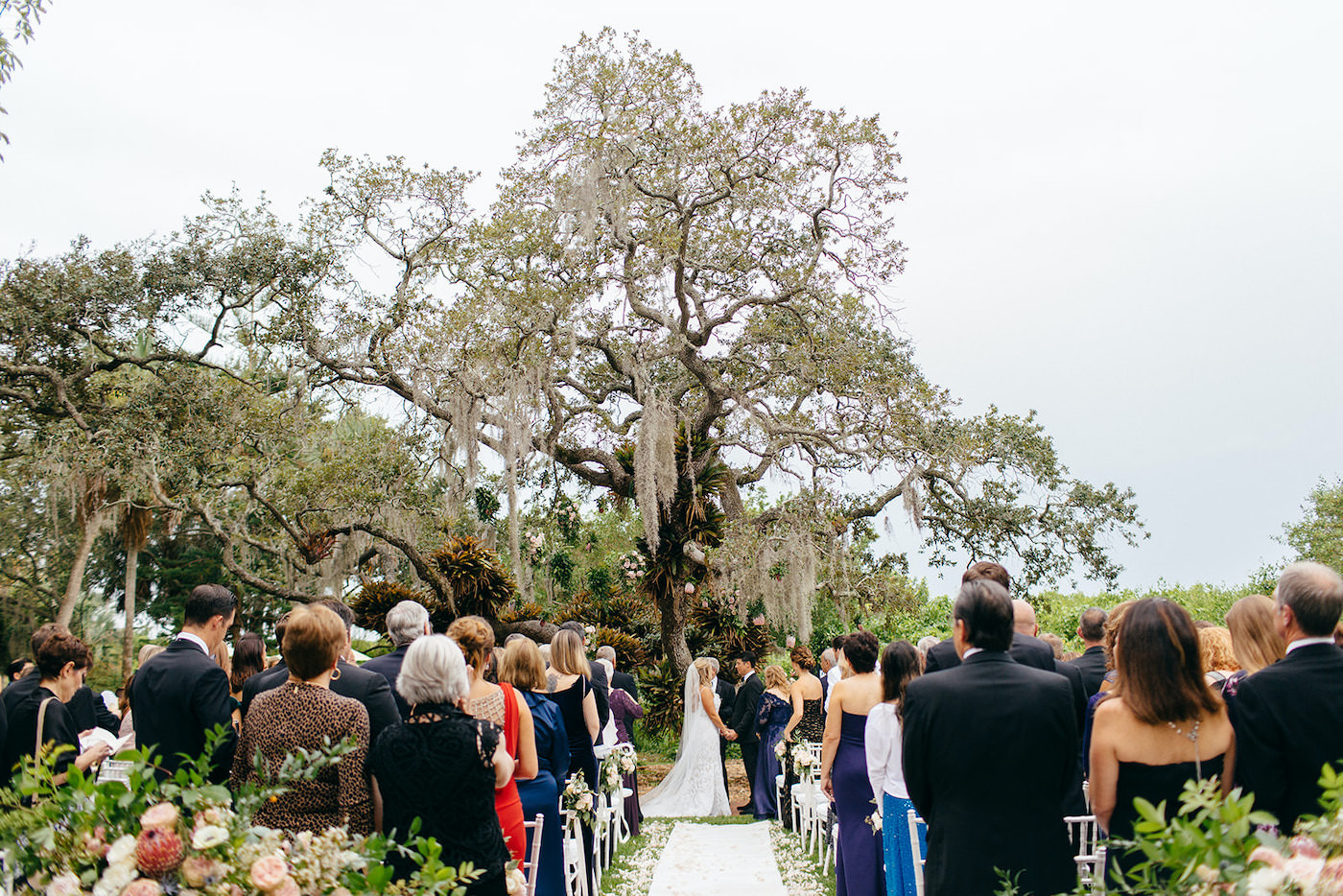 Romantic Florida Wedding Outside in Garden Inspired Ceremony Under Large Tree with Hanging Moss   Sarasota Wedding Planner NK Weddings   Marie Selby Botanical Gardens