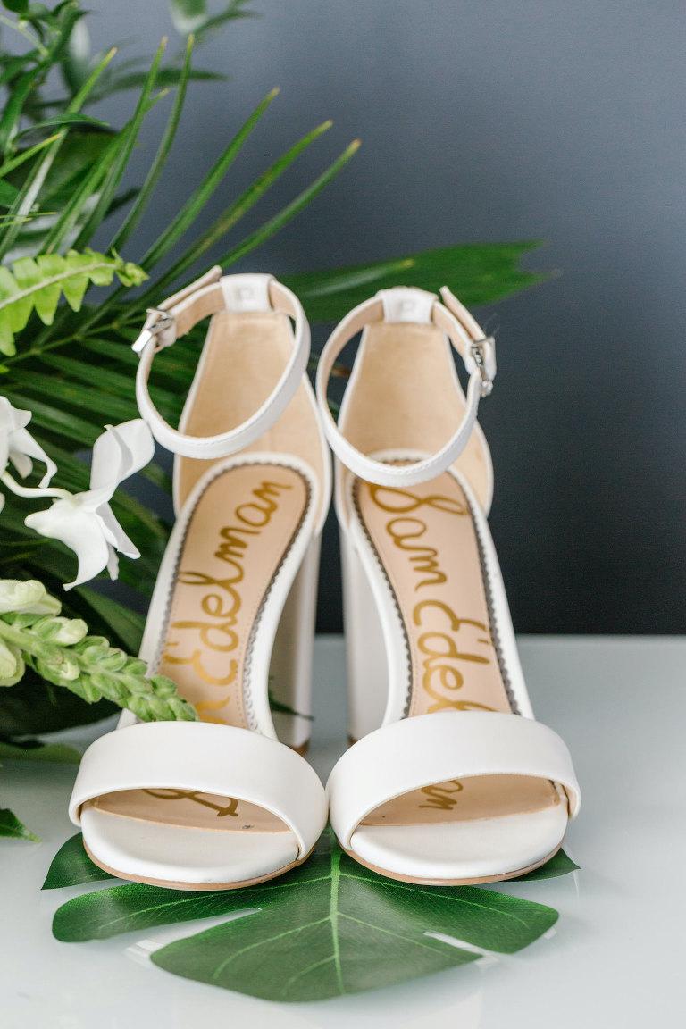 Ivory Designer Sam Edelman Heels Bridal Wedding Shoes with Ankle Straps