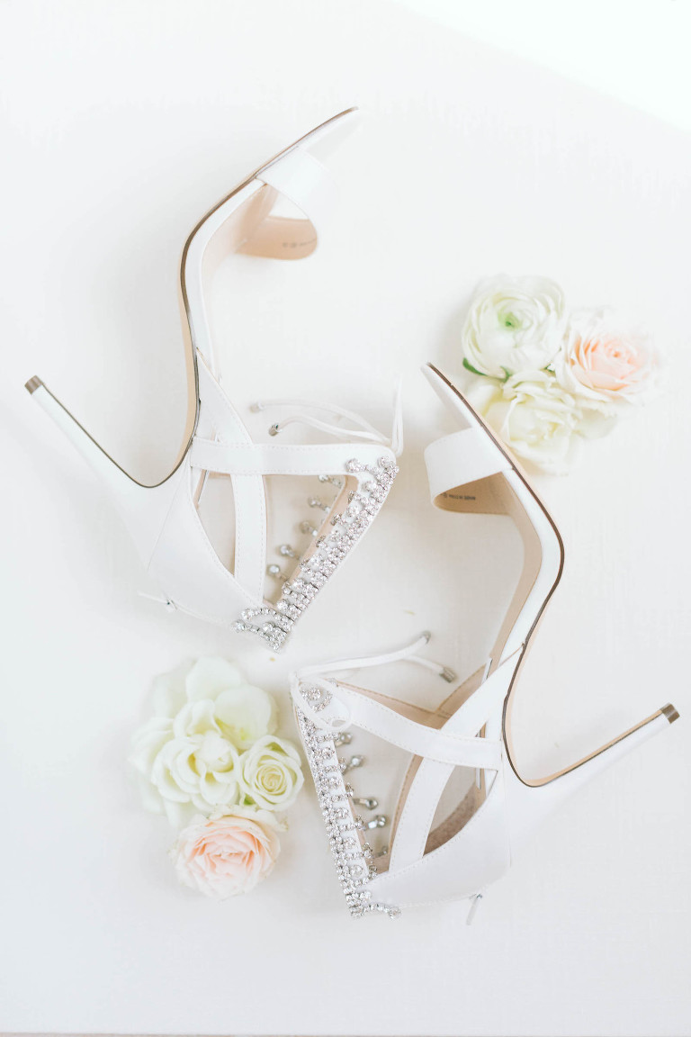 Strappy Ivory Wedding Heel Sandals with Rhinestone and Crystal Ankle Strap