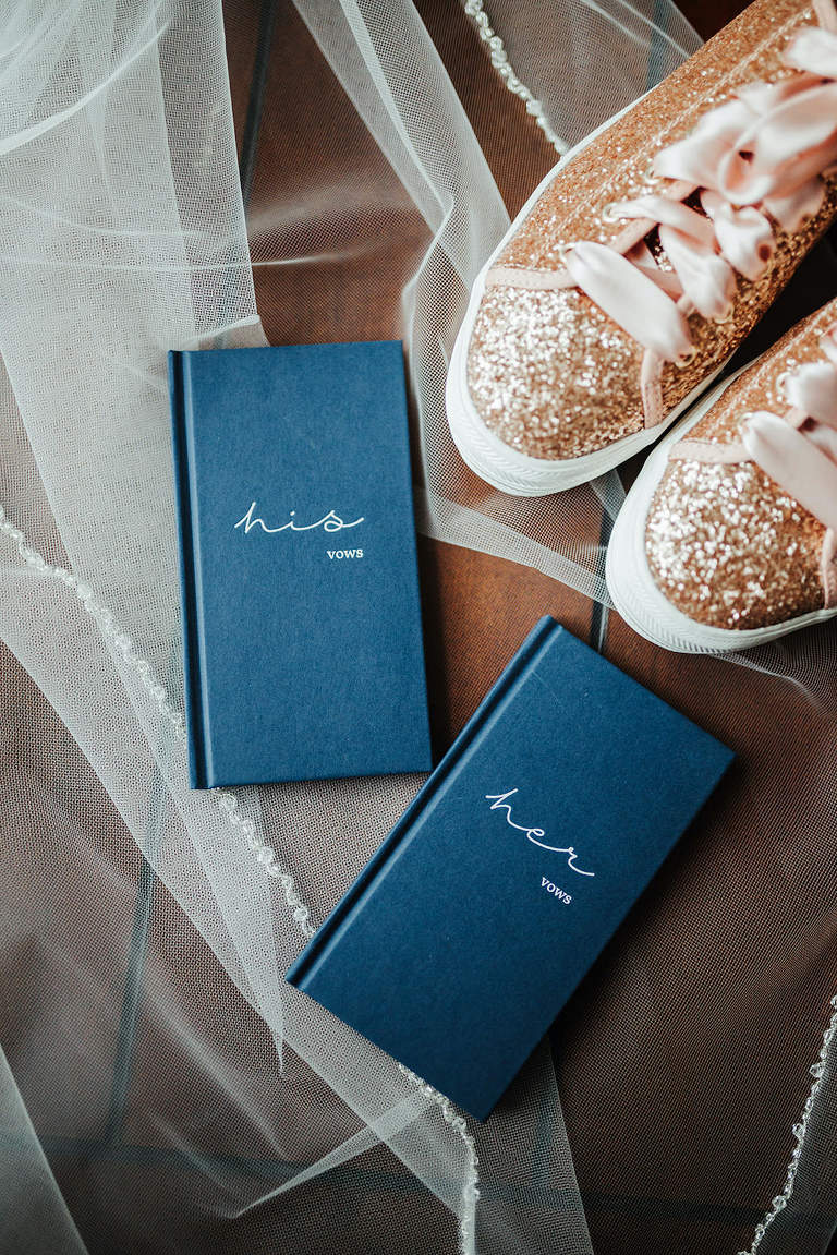 Navy Blue His and Hers Wedding Vow Books, Rose Gold Glitter Bridal Sneaker Shoes