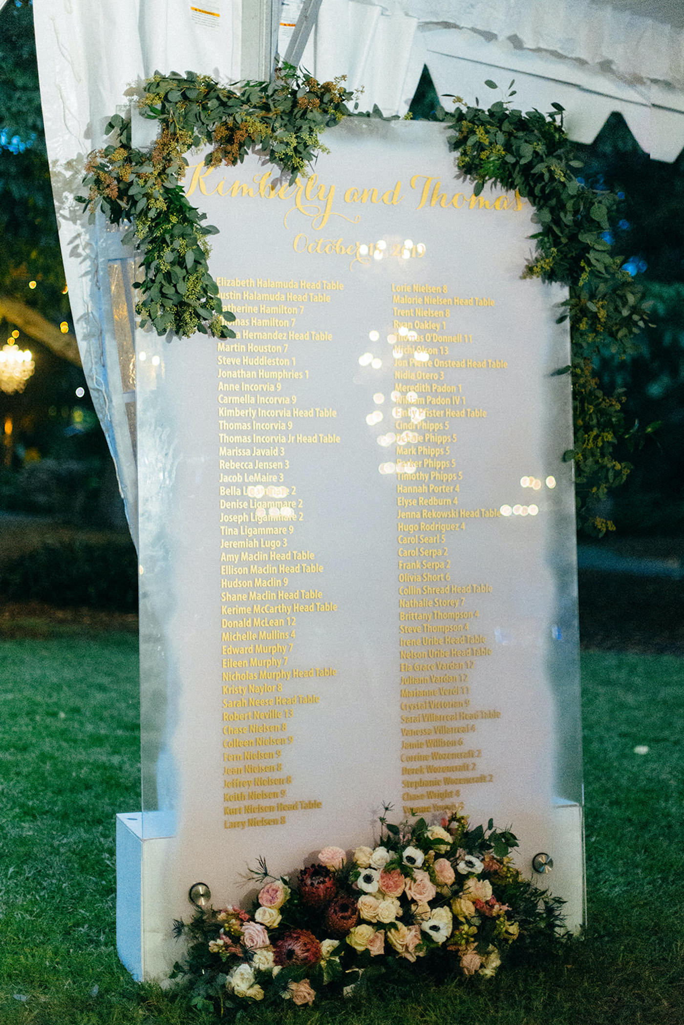 Romantic, Garden Inspired Wedding Reception Decor, Custom Etched Seating Chart with Gold Foil Printing, Luxurious Florals with Dark Red, Purple, White, Light Yellow, Blush Pink flowers and Greenery   Luxury Sarasota Wedding Planner NK Weddings   Marie Selby Botanical Gardens