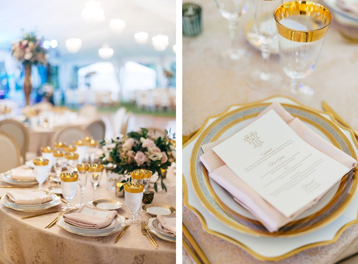 Romantic, Garden Inspired Wedding Reception Decor In White Tented Outdoor Florida Wedding, Round Tables with Gold Linens,Modern Circle Back Chairs, Gold Accented Table Setting, Printed Menu, Low Floral centerpiece with Blush Pink Flowers and Greenery   Sarasota Wedding Planner NK Weddings