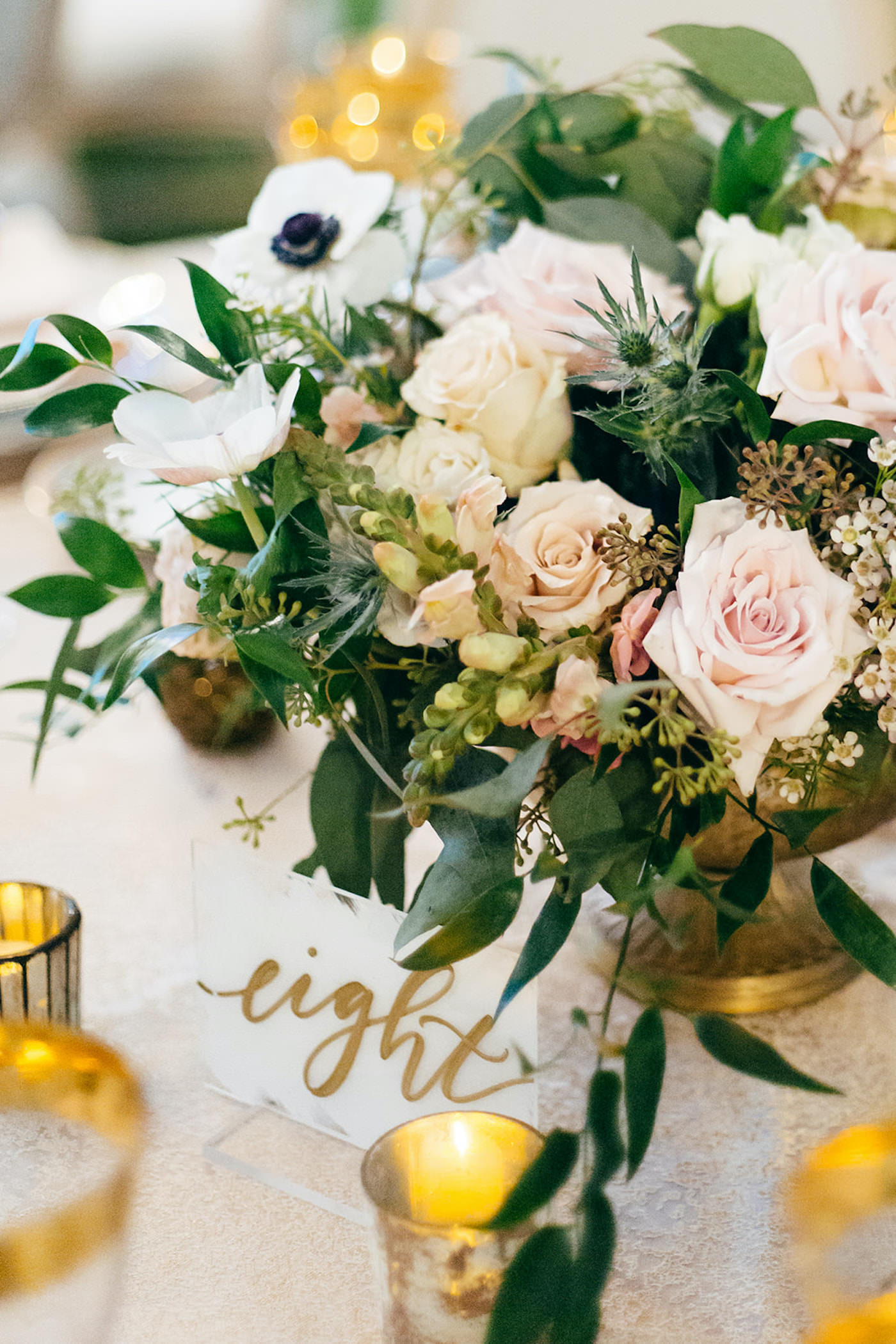 Elegant Florida Wedding Decor and Reception, Acrylic Calligraphy Table Numbers   Luxurious Blush Pink Florals and Greenery, Gold Table Setting Accents   Sarasota Wedding Planner NK Weddings   Marie Selby Botanical Gardens