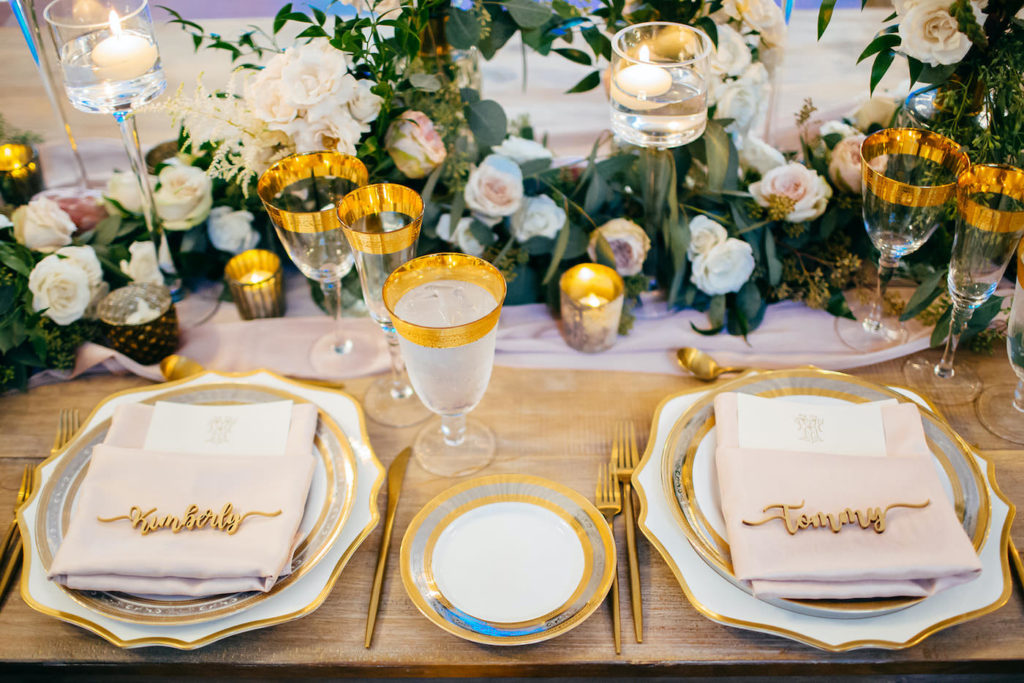 Elegant Florida Wedding Decor and Reception, Acrylic Place Setting Name Cards | Luxurious Blush Pink Florals and Greenery, Gold Table Setting Accents | Sarasota Wedding Planner NK Weddings | Marie Selby Botanical Gardens