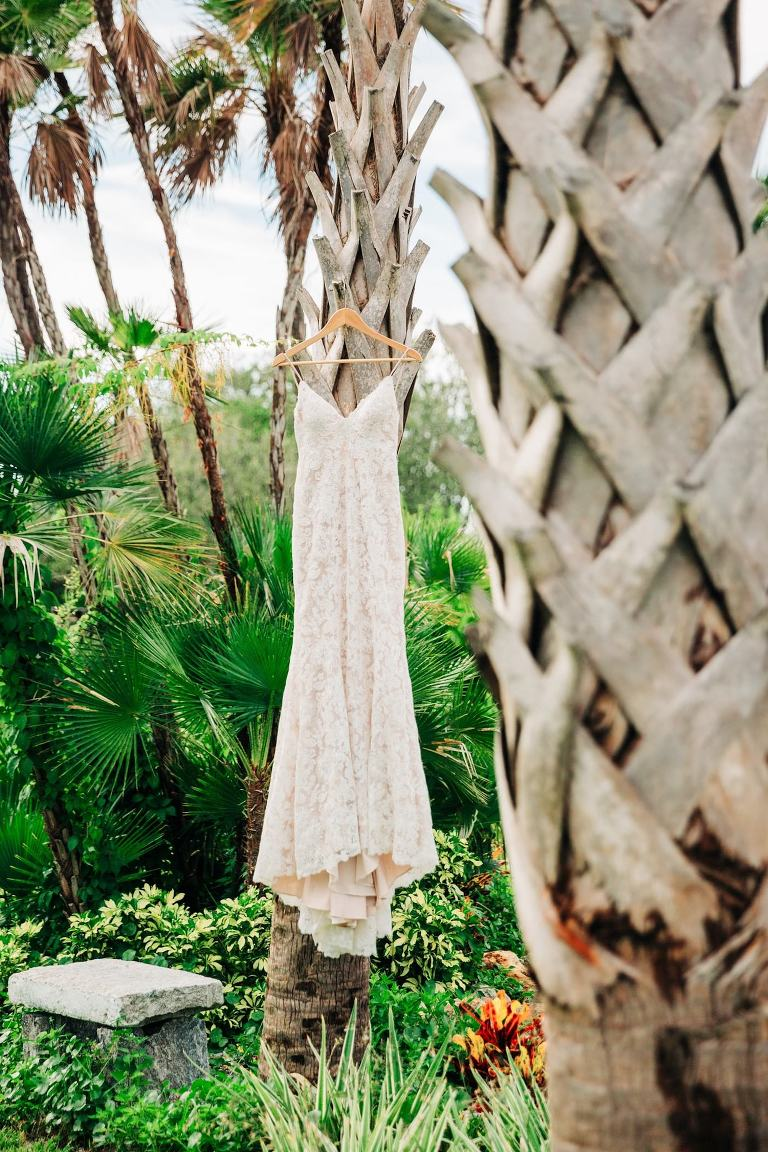 Wedding Dress Hanger Shot Outdoor | Ivory and Champagne Lace V Neck Spaghetti Strap Sheath Bridal Gown