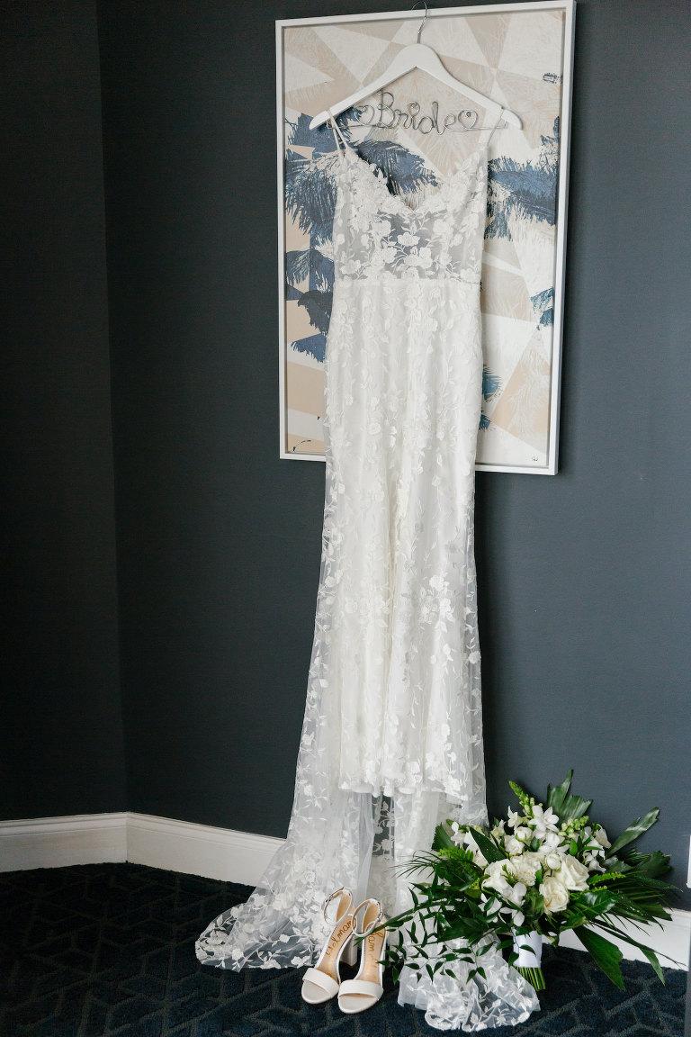 Florida Wedding Dress Hanger Shot | White Illusion Lace Spaghetti Strap Sheath V Neck Bridal Gown with Sheer Bodice