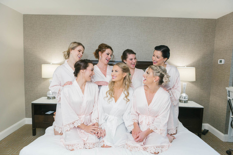 Classic Bride and Bridesmaids in Matching Blush Pink Lace Trim Robes