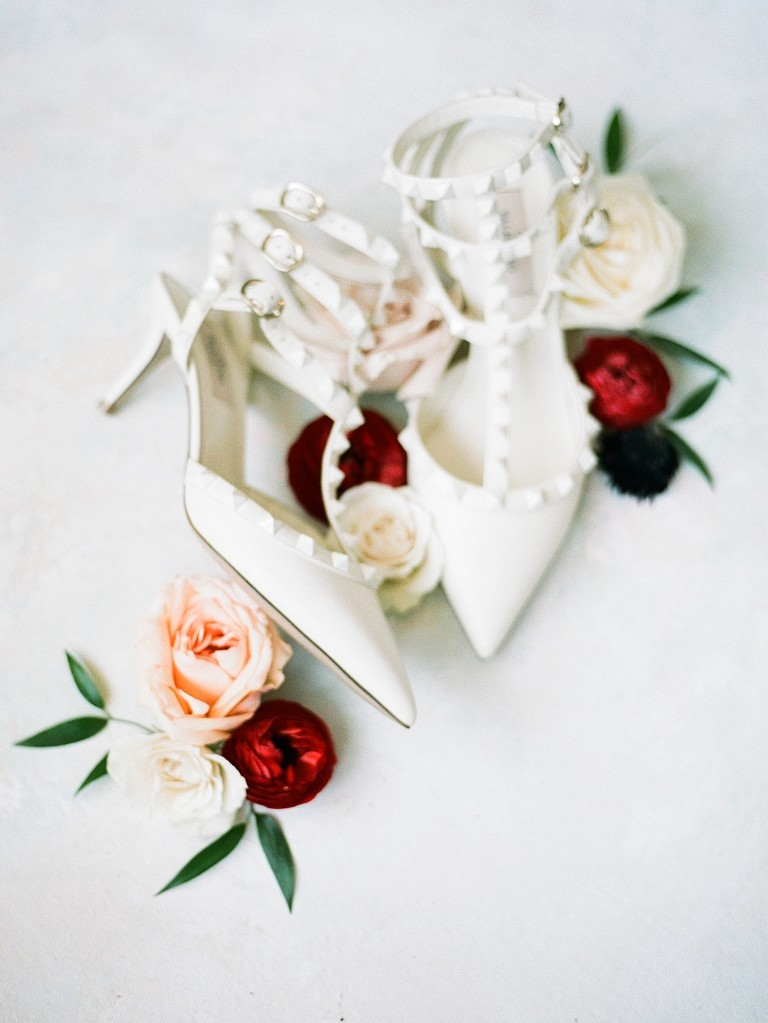 Valentino Designer Wedding Shoes | White Pointy Toe Strappy Bridal Heels