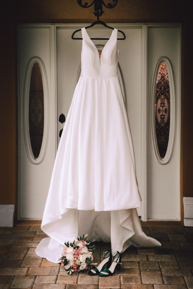 Stella York Wedding Dress Hanger Shot | Satin V Neck Simple Classic Bridal Gown A Line Ballgown