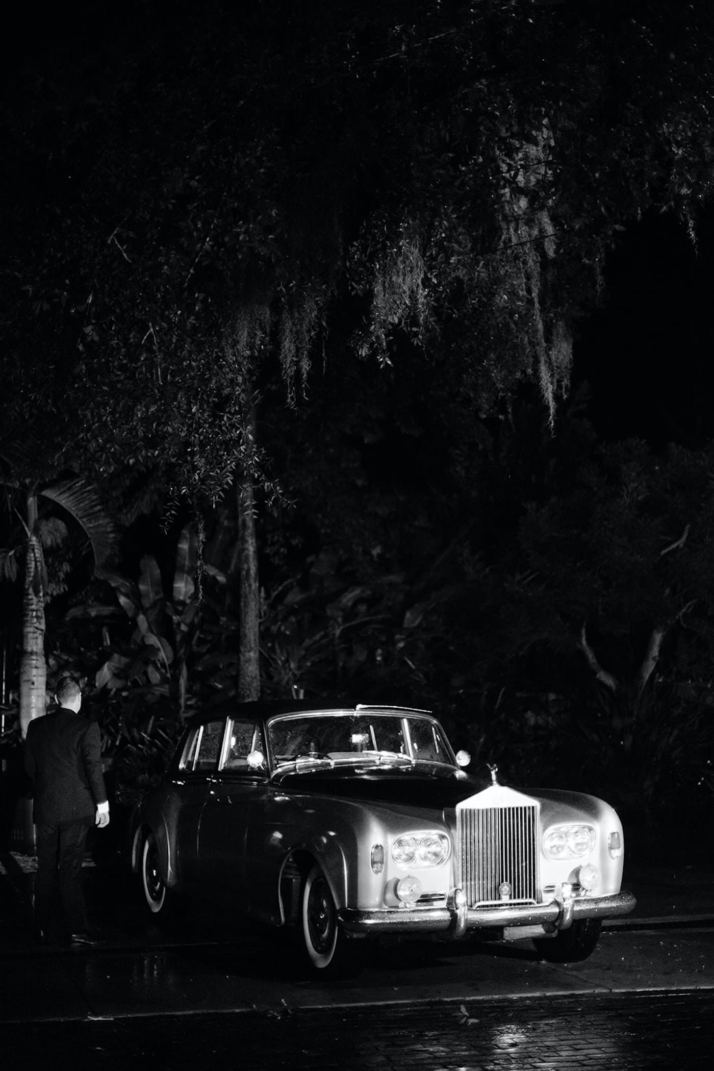 Black and White Classic Car - Getaway Car   Florida Wedding
