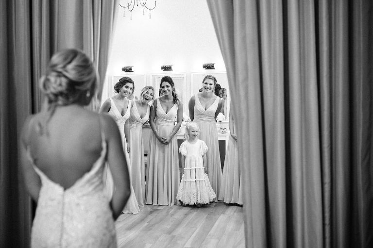 Bride and Bridesmaids First Look | Bride Wedding Gown Reveal with Bridesmaids | Black and White Wedding Photography
