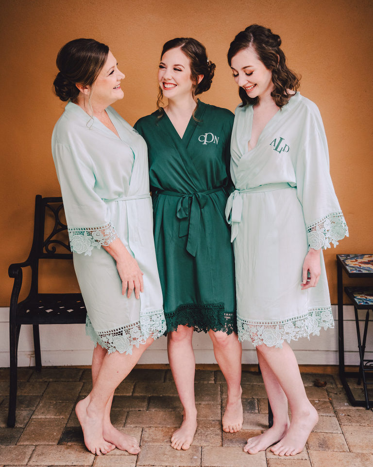 Bride and Bridesmaids Getting Ready in Sage Mint Green and Emerald Green Monogram Robes