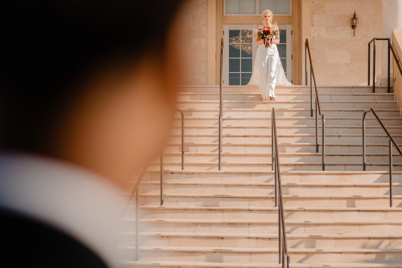 Boho Glam Wedding | Bride Walking Down the Aisle at Tampa Wedding Venue The Regent