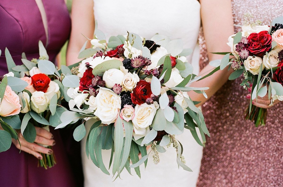 Burgundy Wine Bordeaux Red and White Bouquets with Roses, Cosmos, Renunculus, Chrysanthemums, and Eucalyptus Greenery by Tampa Wedding Florist Brides N Blooms | Florida Fall Autumn Wedding