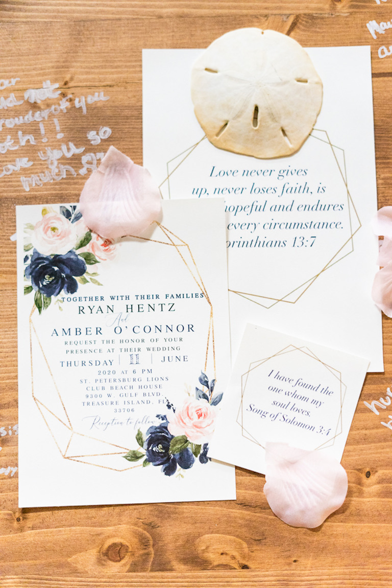 St. Petersburg Florida Wedding | Navy Blue and Blush Pink Floral Wedding Invitation with Gold Geometric Motif and Bible Verse | Wedding Stationery Set Flay Lay with Sand Dollar