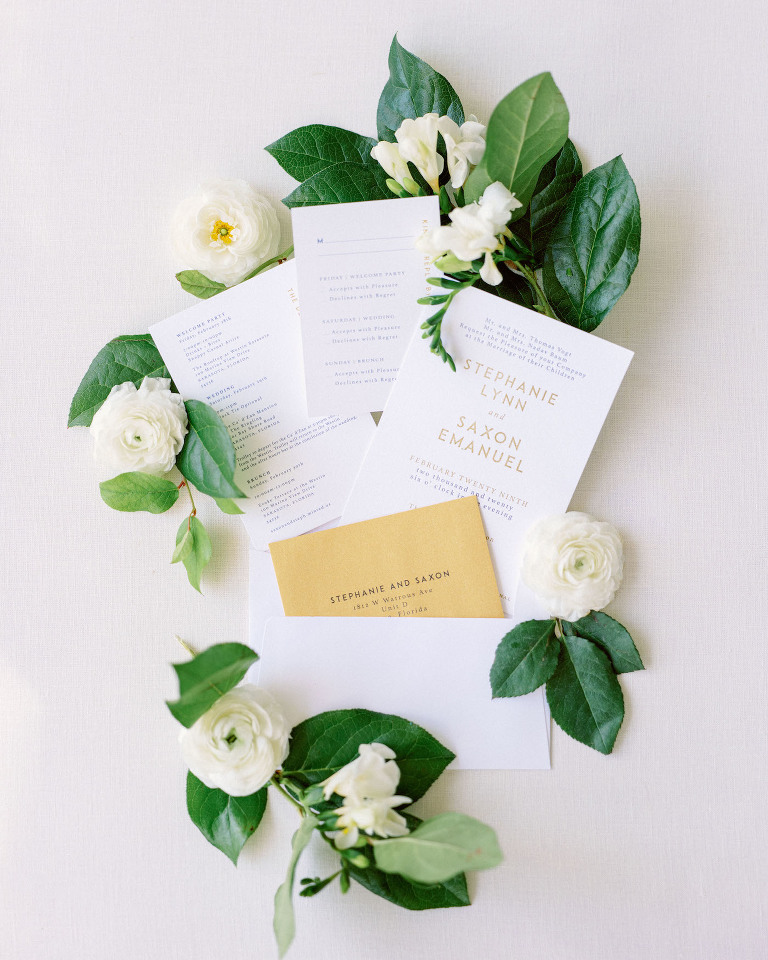 Modern Florida Wedding Invitation, White and Ivory Stationery with Gold Foil Block Lettering