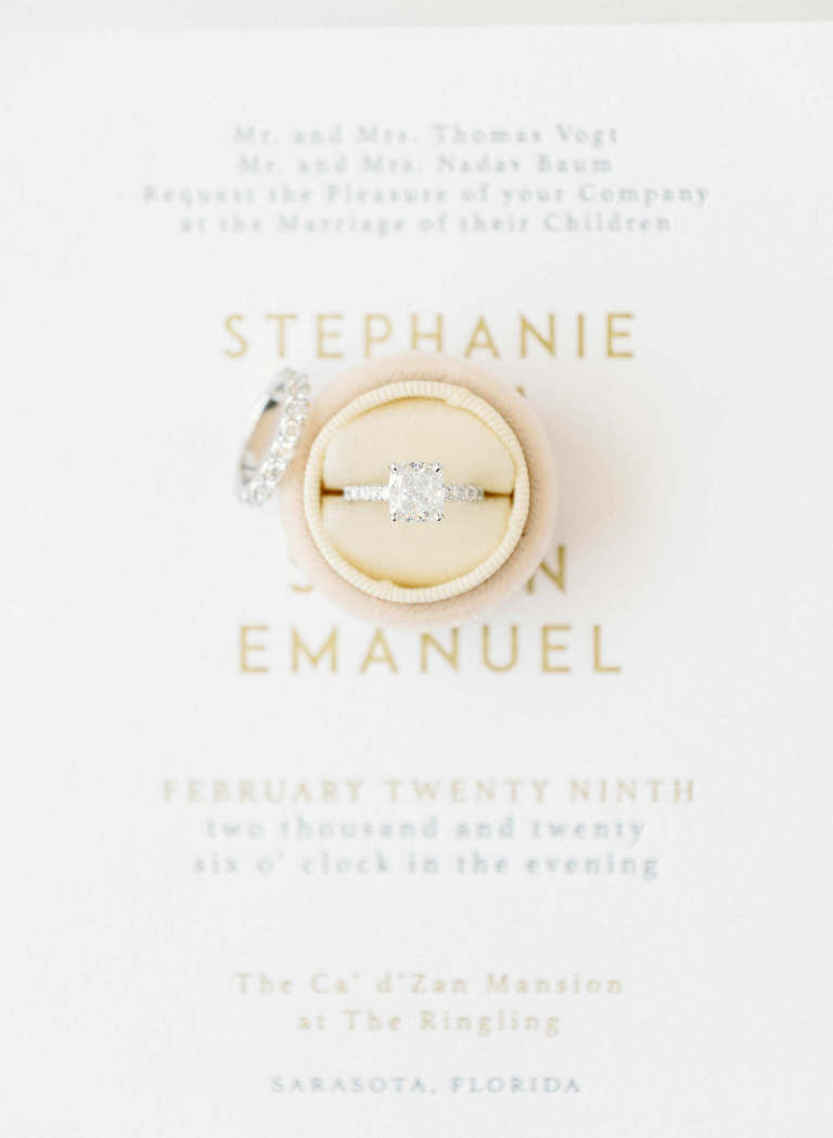 Florida Wedding and Engagement Ring, Round Diamond Solitaire Ring, Ivory Wedding Invitation with Gold Foil Block Lettering