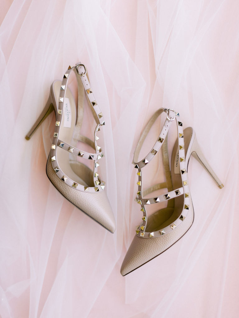 Designer Bridal Shoes, Valentino Rock Stud Nude and Pink High Heels | Florida Wedding