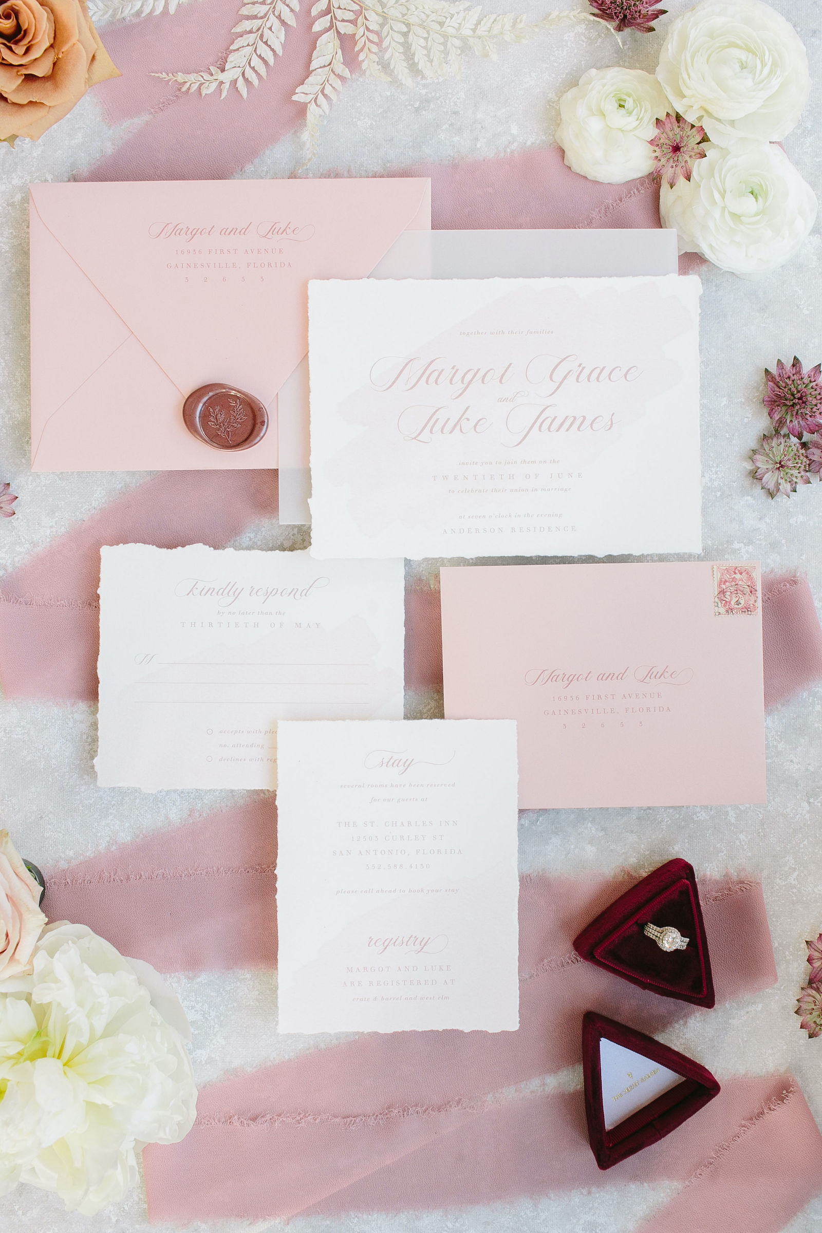 Blush Pink and Mauve Wedding Stationery Suite with Raw Edge Invitation and Wax Seal | Wedding Photography Flay Lay Shot with Fresh Flowers and Burgundy Velvet Ring Box
