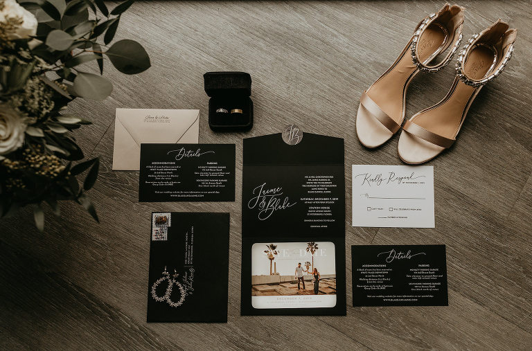 Modern Dark and Moody Black Wedding Invitation Suite