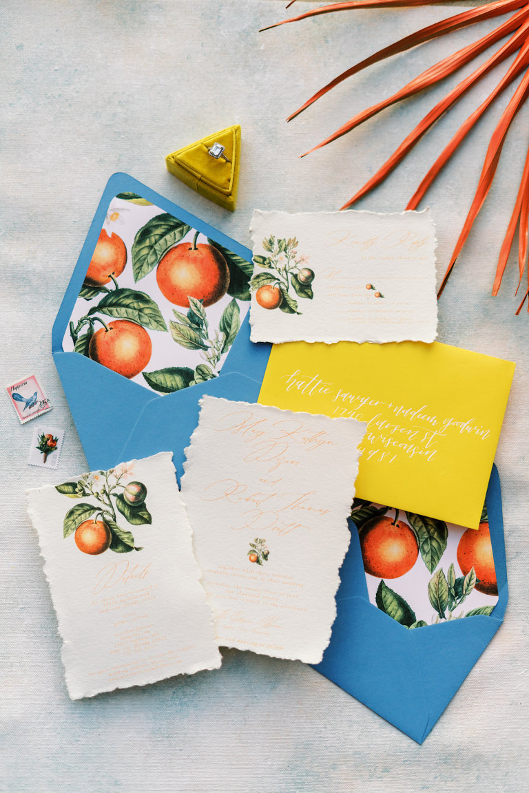 Florida Citrus Orange Stationery Suite Set with Envelope Liner | Wedding Invitation with Orange Blossom and Calligraphy