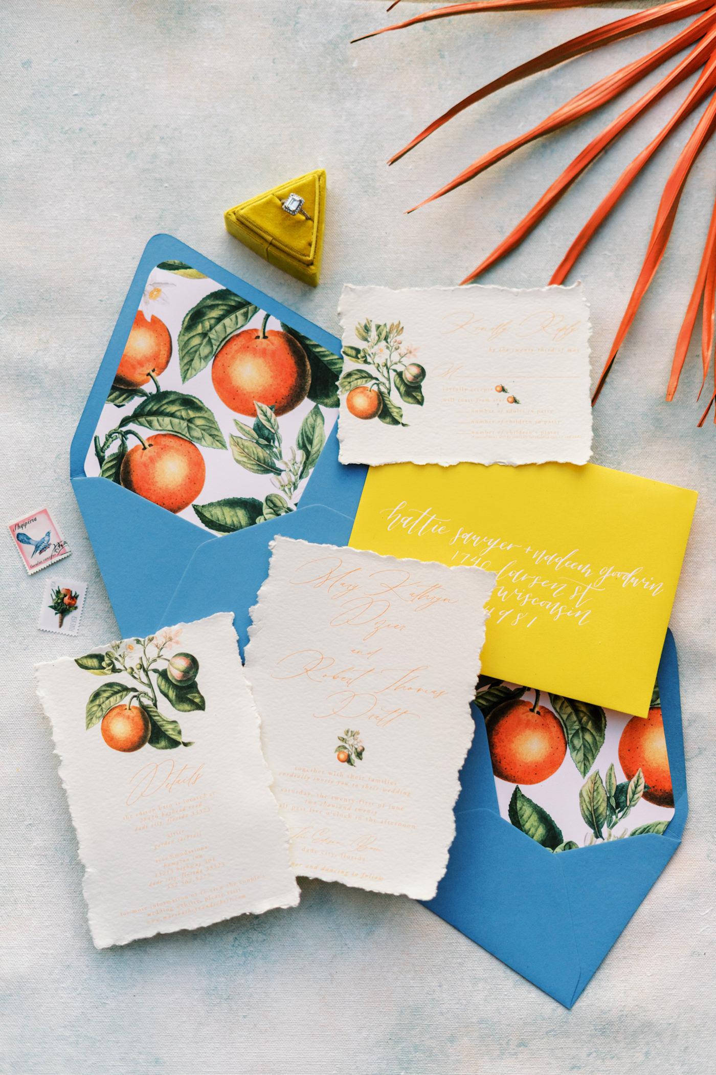 Florida Citrus Orange Stationery Suite Set with Envelope Liner | Wedding Invitation with Orange Blossom and Calligraphy